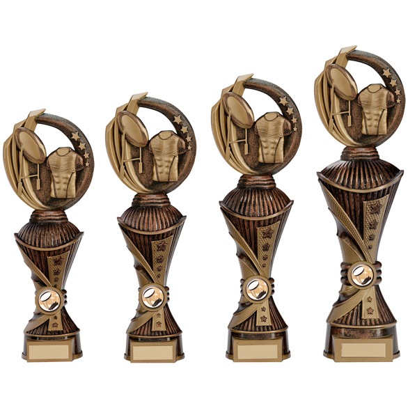 Renegade All Star Rugby Heavyweight Trophy antique bronze 4 sizes - PX17262