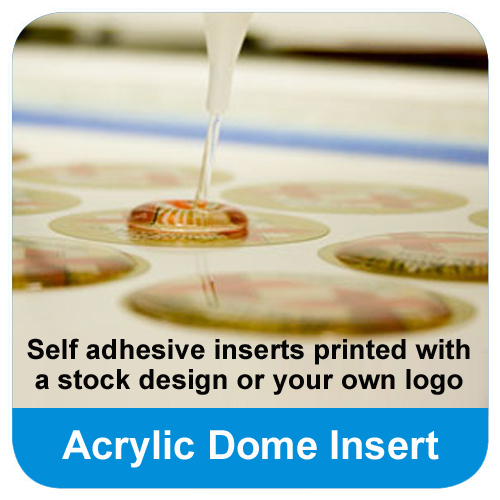 Your logo printed on domed acrylic inserts