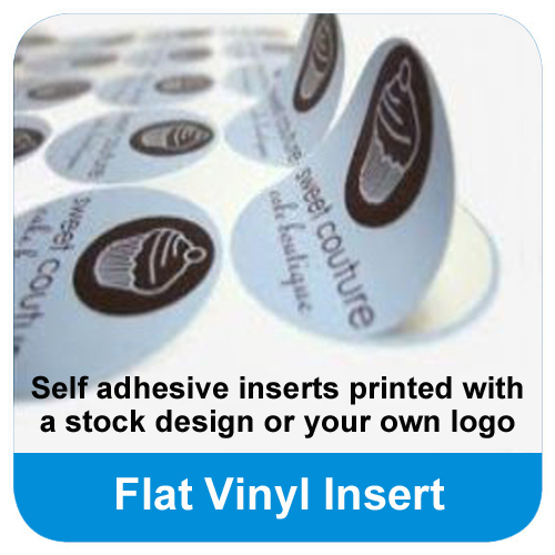 Your logo printed on flat vinyl inserts