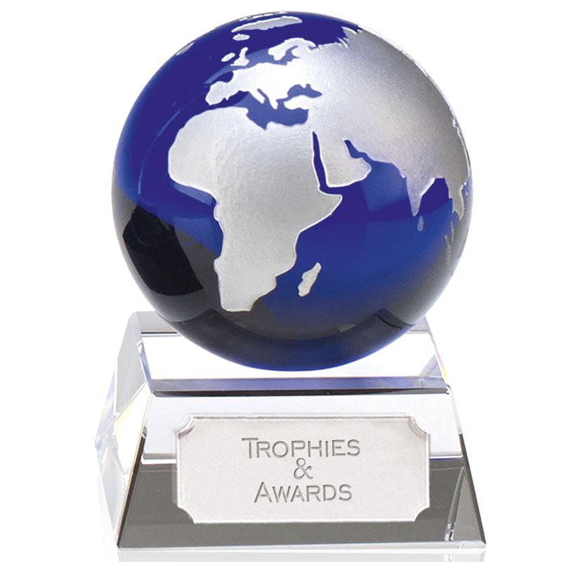 Aqua Mini Globe Crystal Award - KK152