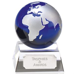Aqua Mini Globe Crystal Award - KK152