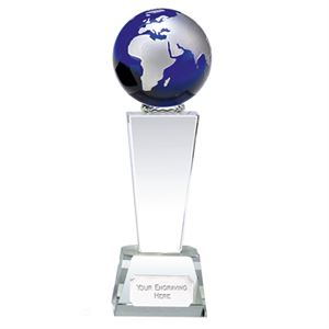 Unite Blue Globe Crystal Award - KK165