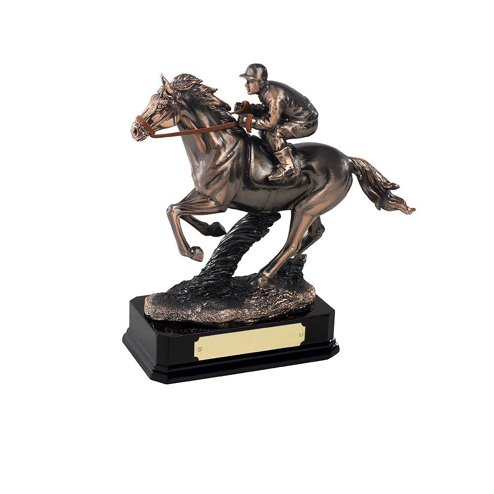 Antique Copper Plated Horse Racing Award - GX009A