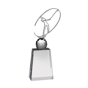 Clear Crystal Golf Ball Award with Metal Golfer - AC169