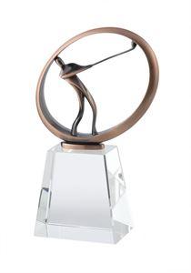 Bronze Finish Metal & Crystal Golf Award - AC229