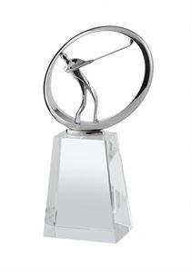 Silver Finish Metal & Crystal Golf Award