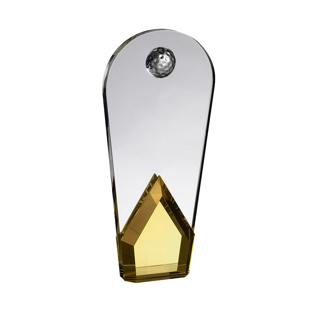 Gold Crystal Curved Golf Award - AC191B