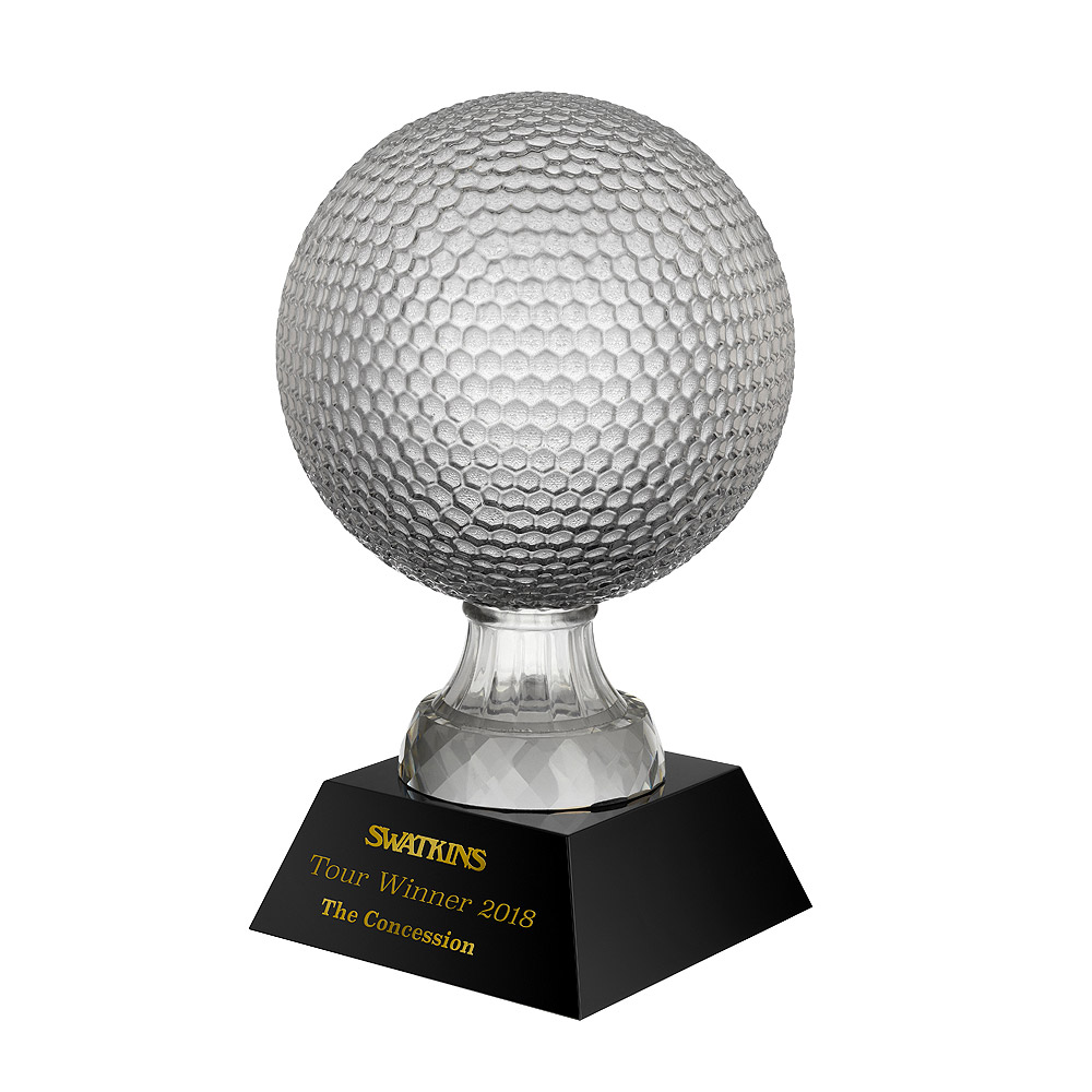 Clear & Black Crystal Golf Ball Trophy - GLC052