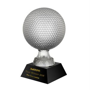Clear & Black Crystal Golf Ball Trophy
