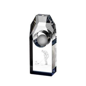 Lasered Golfer Golf Ball Crystal Award - HC002