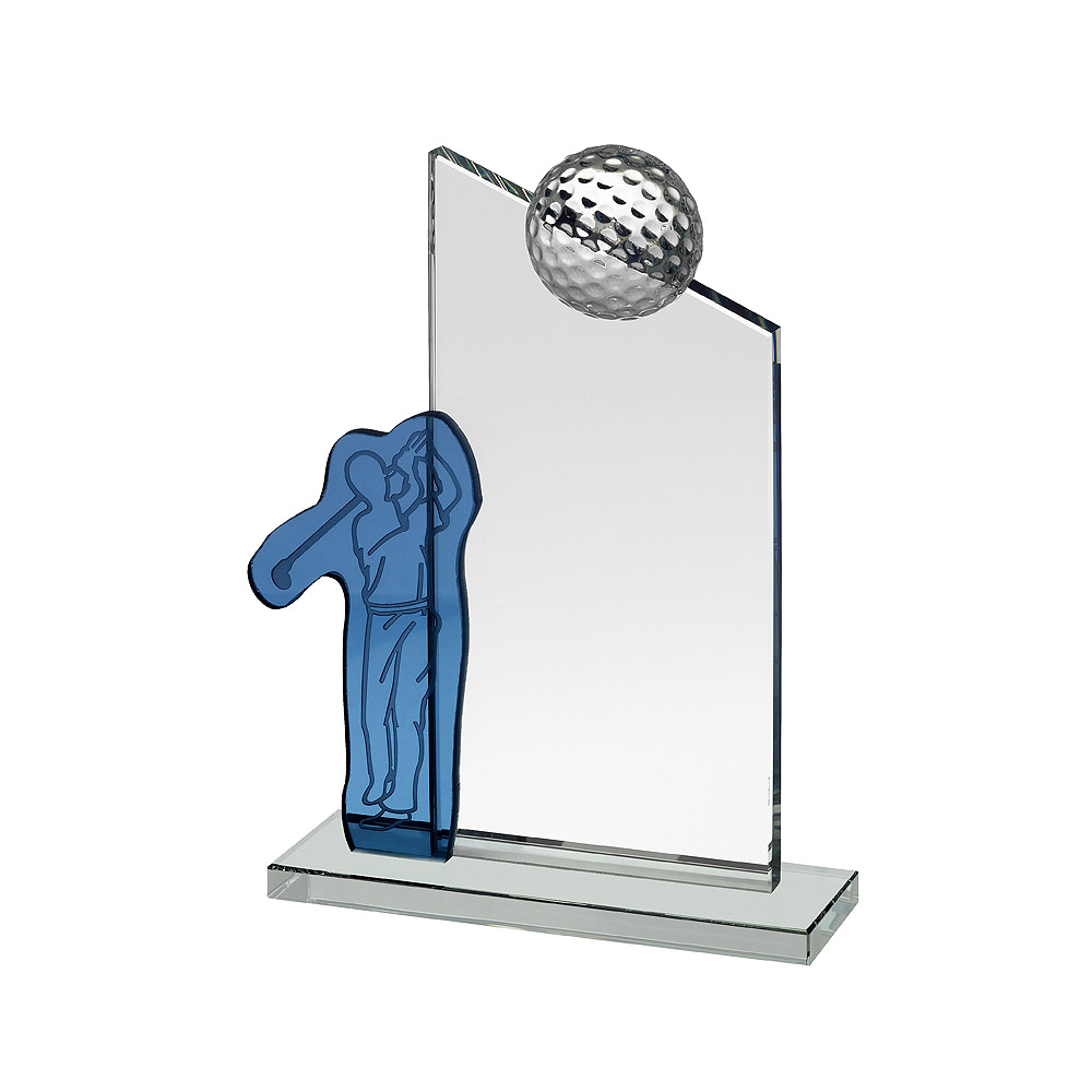 Clear & Blue Crystal Golfer and Ball Award - GLC049