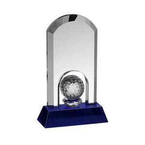 Clear & Blue Crystal Curved Golf Ball Award - GLC016