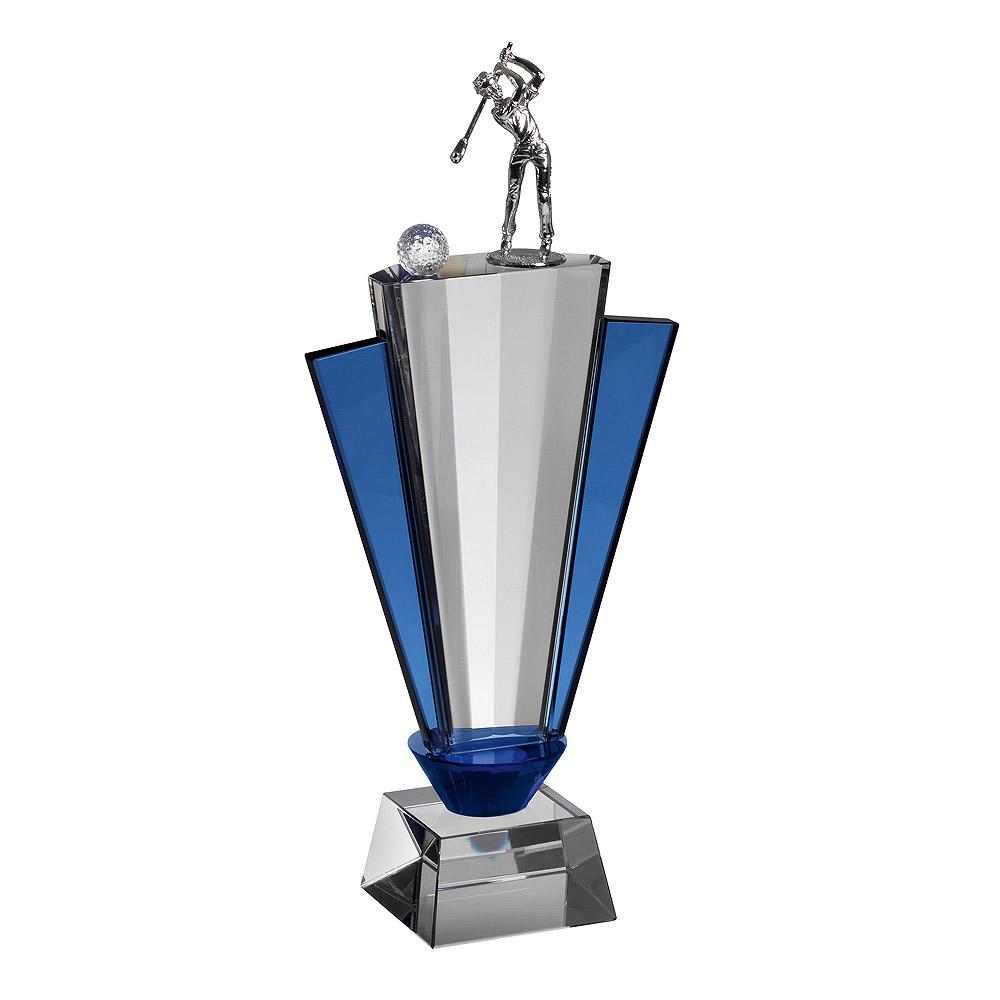 Clear & Blue Crystal Golfer Award - GLC014