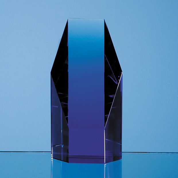 Sapphire Blue Optical Crystal Hexagon Award - SY2025