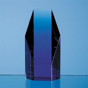 Sapphire Blue Optical Crystal Hexagon Award