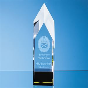 Clear & Emerald Green Optical Crystal Pointed Monolith Award