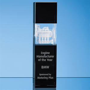 Clear & Onyx Black Optical Crystal Square Column Award - SY7030