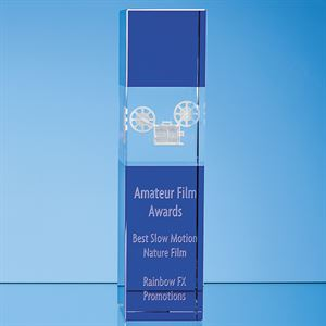 Clear & Cobalt Blue Optical Crystal Square Column Award - SY7027