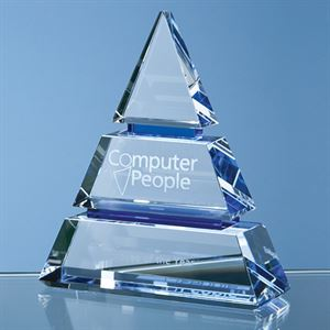 Clear Optical Crystal Luxor Award with 2 Cobalt Blue Lines