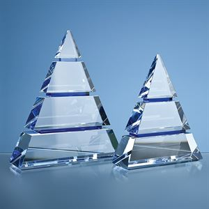 Clear Optical Crystal Luxor Award with 3 Cobalt Blue Lines - SY3065