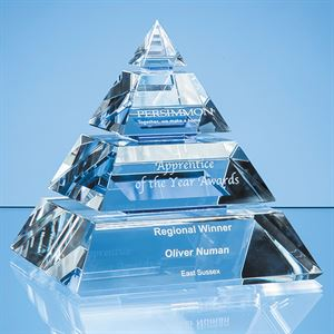 Clear Optical Crystal Luxor Pyramid Award with 3 Cobalt Blue Lines - SY5061