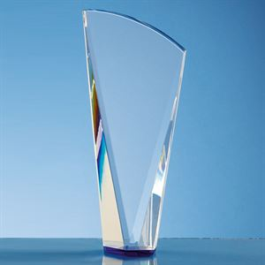 Clear Optical Crystal Facet Shard Award with a Sapphire Blue Base - QC1025
