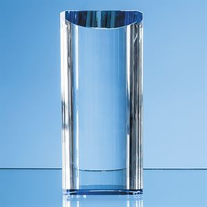 Optical Crystal Semi Circular Cylinder with a Cobalt Blue Base