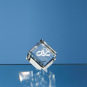 Optical Crystal Bevel Edge Cube Award - DY1 (40mm)