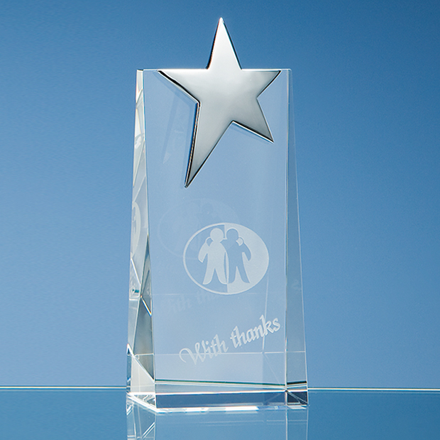 Optical Crystal Rectangle with Silver Star Award - SY2045