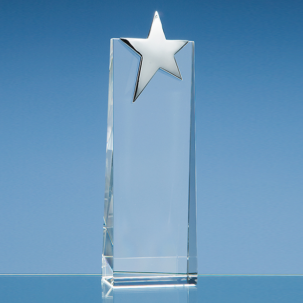Optical Crystal Rectangle with Silver Star Award - SY2046