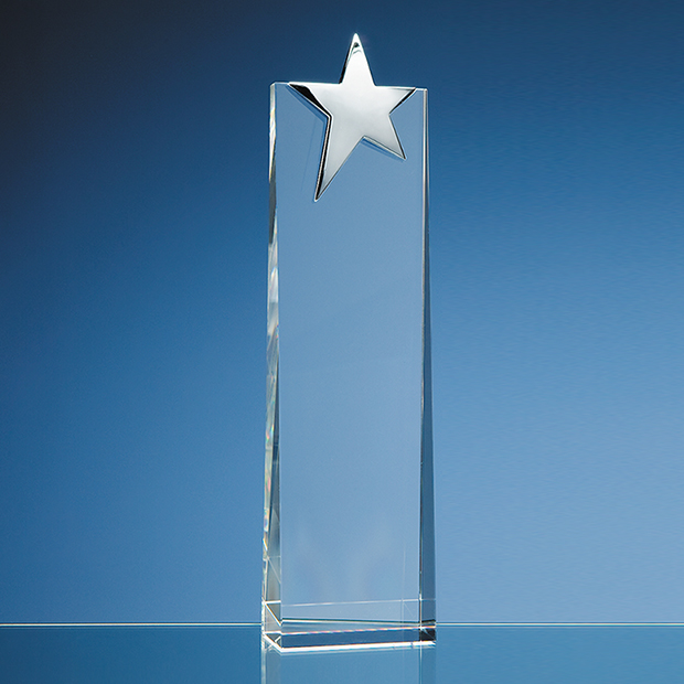 Optical Crystal Rectangle with Silver Star Award - SY2047