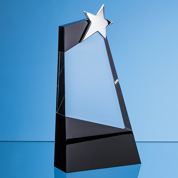 Clear & Onyx Black Optical Crystal Slope Award with Silver Star - SY7021