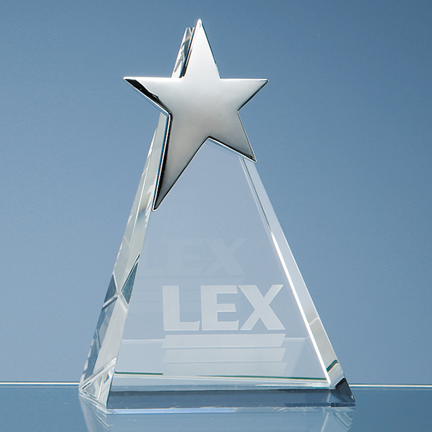 Optical Crystal Triangle Award with Silver Star - SY2049