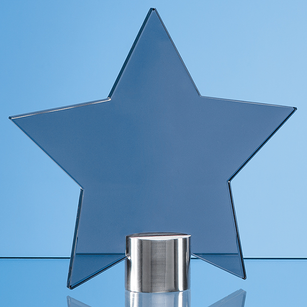 Smoked Glass Star Mounted on a Brushed Aluminium Base - TZ5761BC