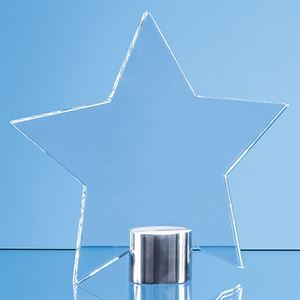 Clear Glass Star Mounted on a Brushed Aluminium Base - TZ5761FC