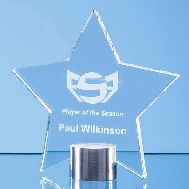Clear Glass Star Mounted on a Brushed Aluminium Base - TZ5762FC