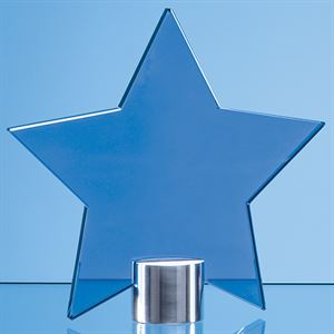 Cobalt Blue Glass Star Mounted on a Brushed Aluminium Base - TZ5761AC