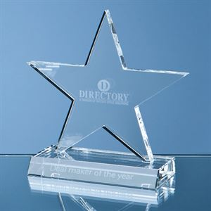 Optical Crystal 5 Pointed Star on Base Award - SY1061
