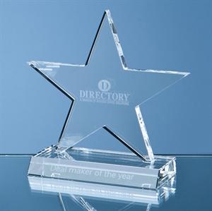 Optical Crystal 5 Pointed Star on Base Award - SY1061