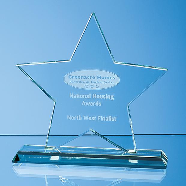 Mounted Jade Glass Star Award - SY4047