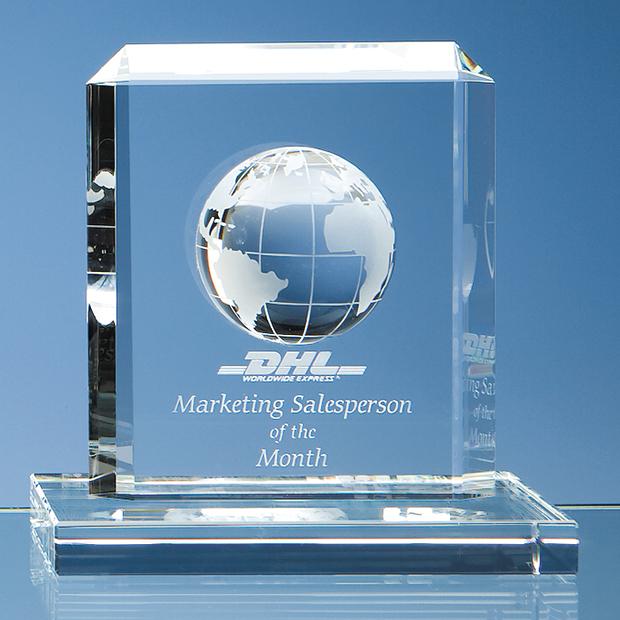 Optical Crystal Globe Rectangle Award - SY1016