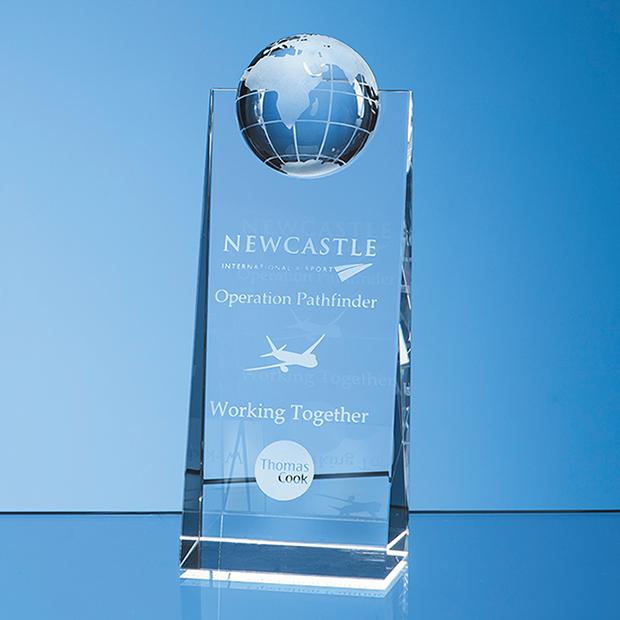 Optical Crystal Globe Rectangle Award - SY5096