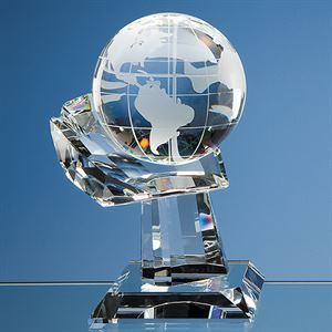 Optical Crystal Globe on Mounted Hand Award - DY29