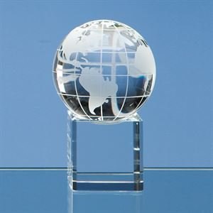 Optical Crystal Globe on a Clear Crystal Base - SY1053