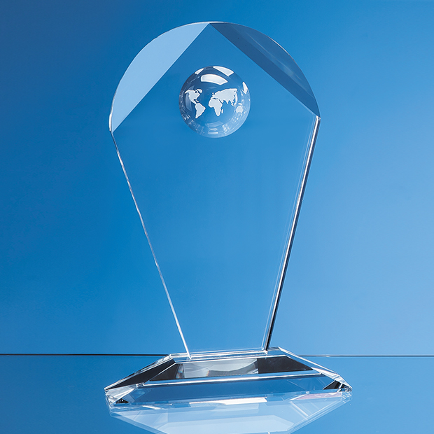 Optical Crystal Arch Award With Recessed Globe - SY5043