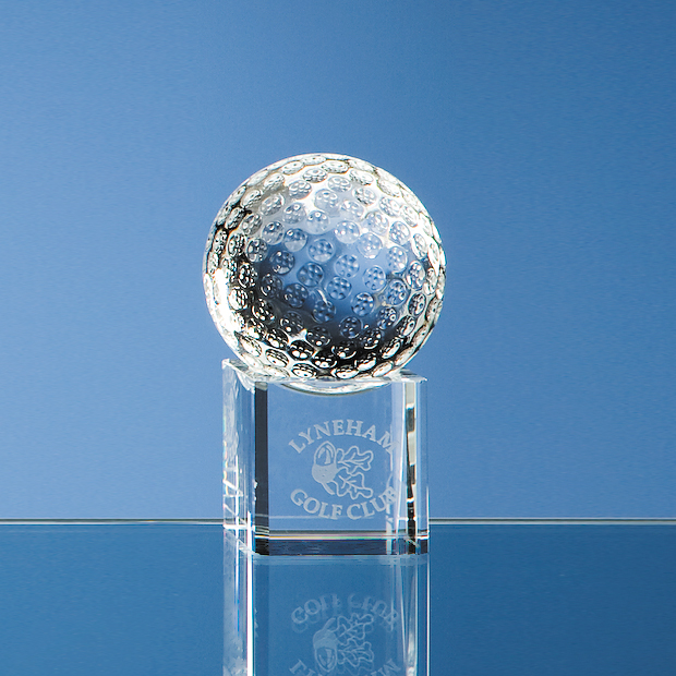 Optical Crystal Golf Ball on a Clear Crystal Base - SY1042