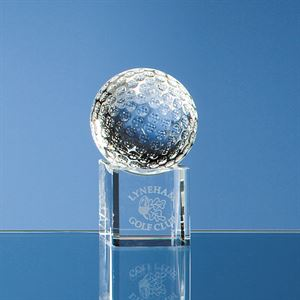 Optical Crystal Golf Ball on a Clear Crystal Base