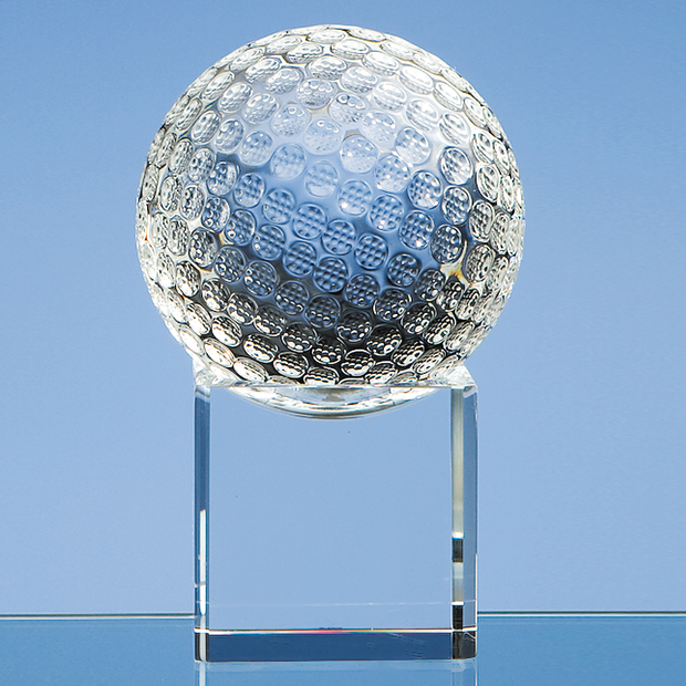 Optical Crystal Golf Ball on a Clear Crystal Base - SY1044