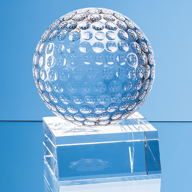 Optical Crystal Golf Ball Mounted on a Clear Crystal Base - SY7054