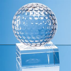 Optical Crystal Golf Ball Mounted on a Clear Crystal Base